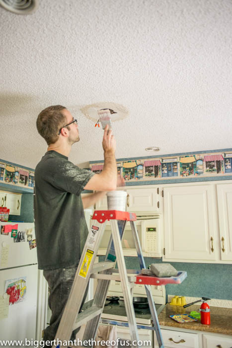 How to brush on popcorn ceiling texture for a repair