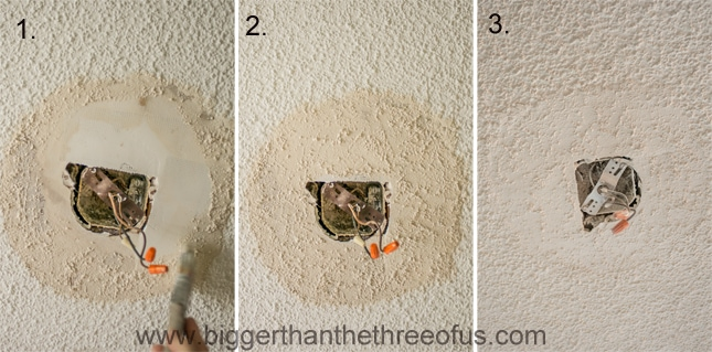 Steps to repair a ceiling for under a light