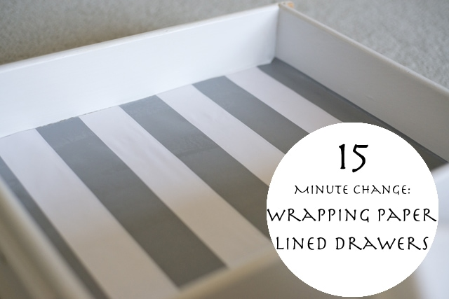 fifteen minute change wrapping paper lined drawers