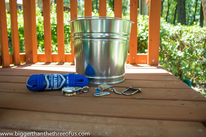 Supplies needed to make your own bucket and pulley for an outdoor playlet