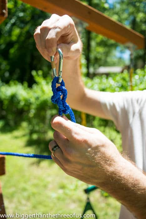 How to attach a rope to a carabiner to make a pulley