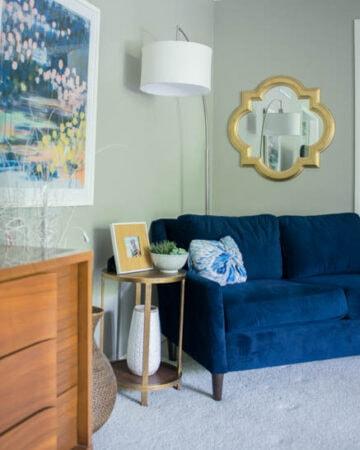 Living Room with Blue Velvet Sofa