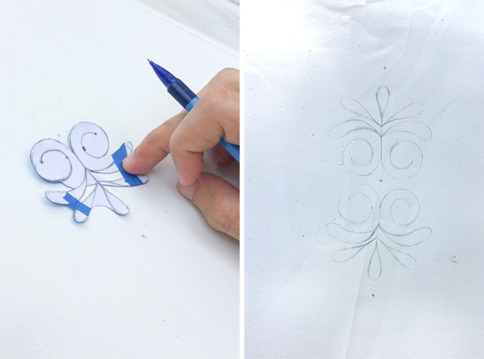 Creating a stencil to place on the patio umberella