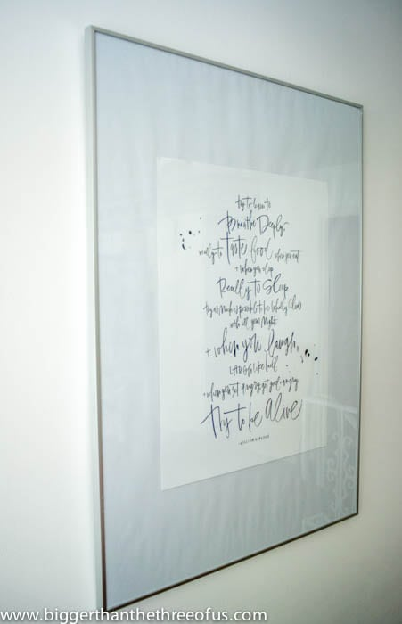 Before picture of Framed Quote Art