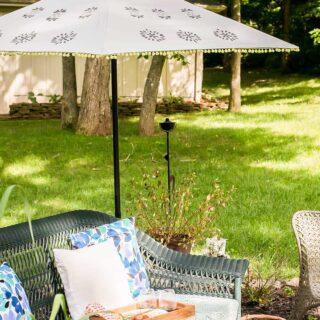 Painted patio umbrella outside