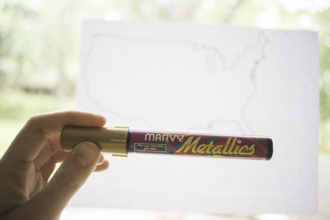 Use a metallic marker to make a United States Map