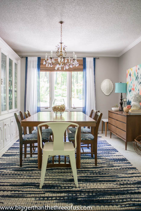 Formal Dining Room with Ikat art and vintage furniture