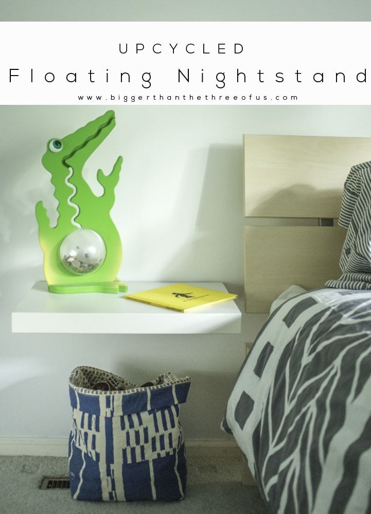 upcycle an ikea lack table to a floating nightstand by bigger than the three of us
