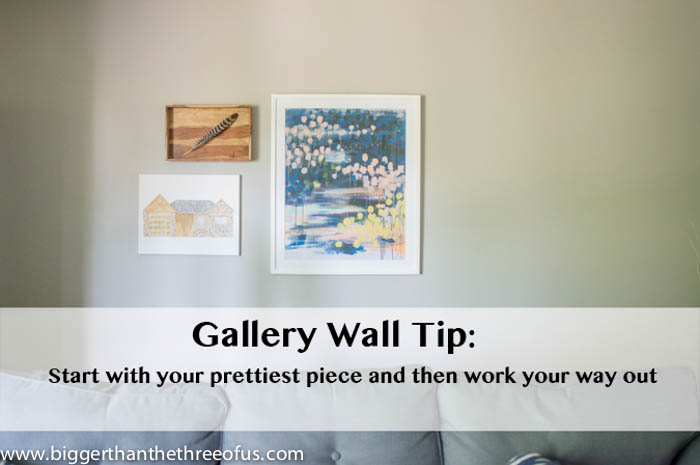Gallery wall tip for living room by Bigger Than The Three Of Us