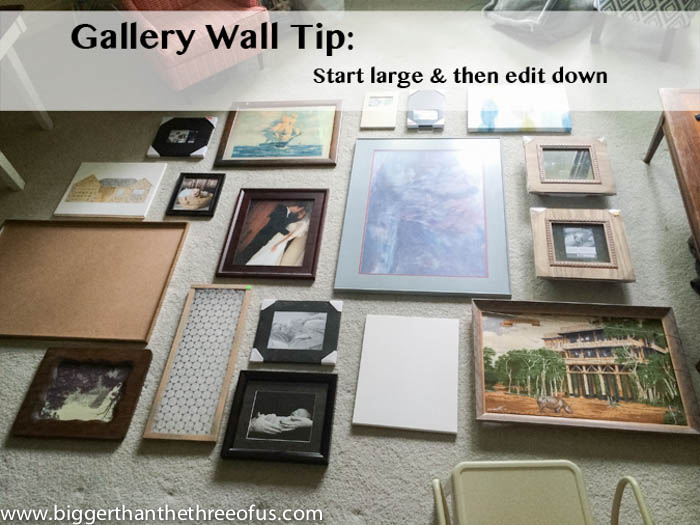Gallery wall tips for living room by Bigger Than The Three Of Us