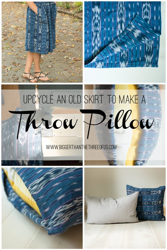 Upcycle a Skirt to make a throw pillow