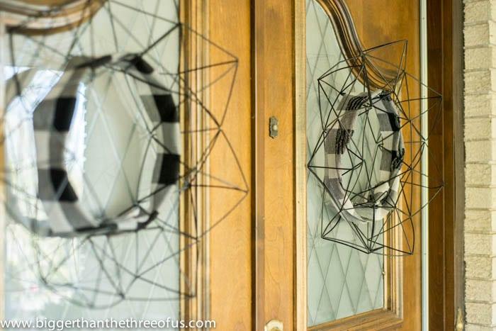 Cozied Up Himmeli Wreaths on Front Doors DIY