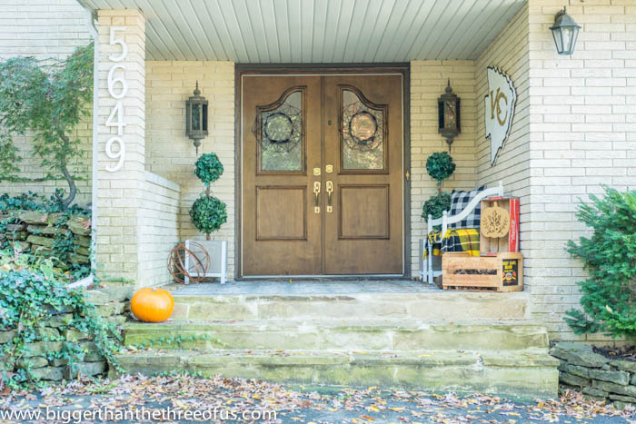Fall Porch Decor by Bigger Than The Three OF US