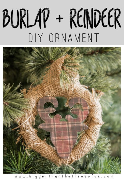 Christmas Ornament Craft. Burlap and Reindeer Wreath Ornament