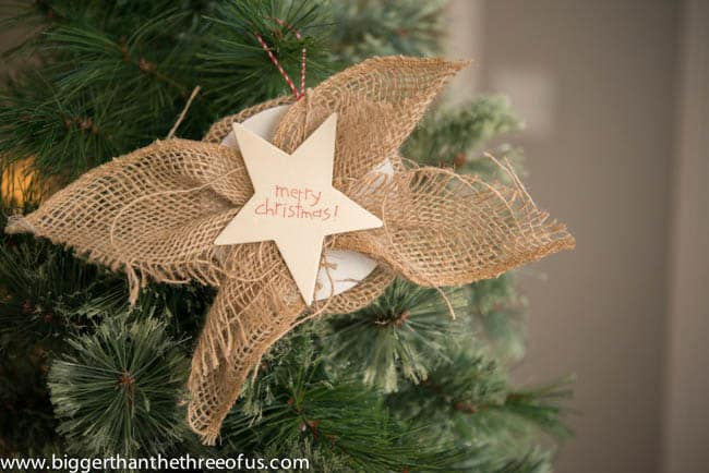 Easy Star Burlap Ornament, shared by Bigger than the Three of Us at The Chicken Chick's Clever Chicks Blog Hop