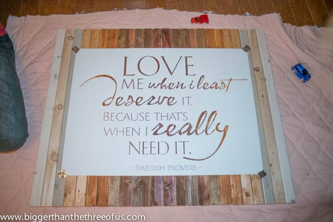 DIY Wood Art with Painted Quote for Master Bedroom By Bigger Than The Three of Us-11