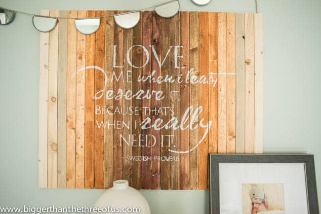 DIY Wood Art with Painted Quote for Master Bedroom By Bigger Than The Three of Us-12