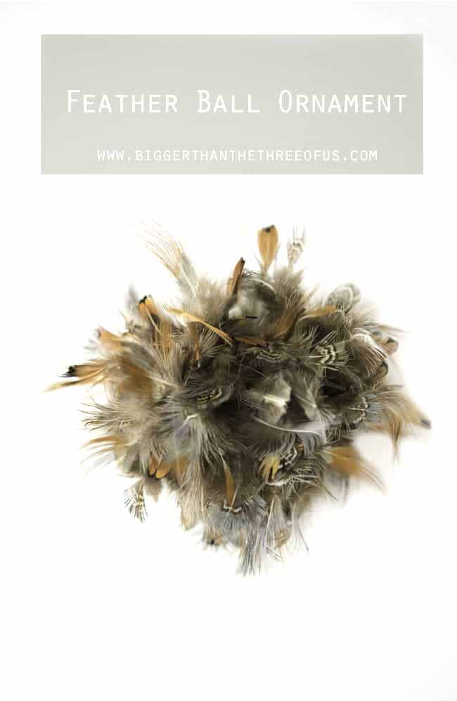 Feather Ball Ornament perfect for that rustic modern Christmas. Rustic Modern Christmas.
