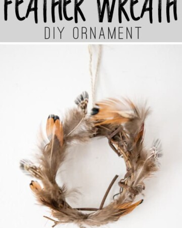 Make a few simple DIY ornaments for Christmas. This Feather Wreath Ornament is adorable!