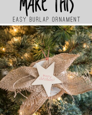 This super easy Christmas Ornament would be perfect on top of Christmas Packages or on the tree! Get the tutorial for this Burlap Ornament!