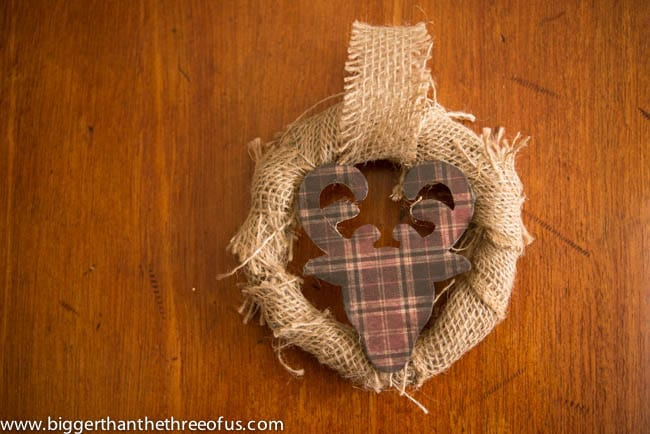 Burlap and Reindeer Wreath Ornament