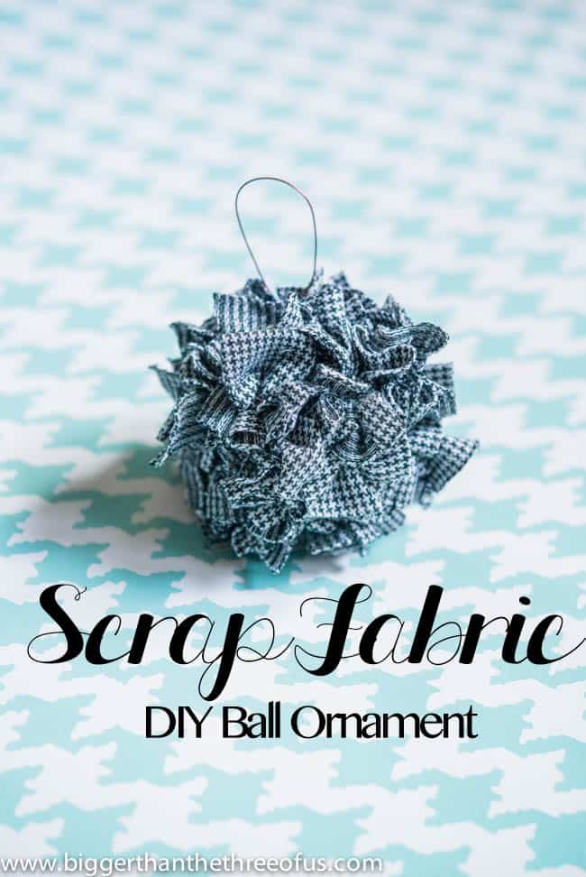 Simple and Easy Fabric Ornament. DIY Ornament. Fabric Ornament. Scrap Fabric Ornament.