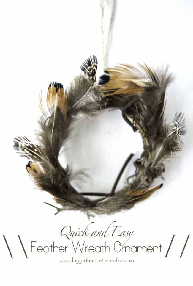 Quick and Easy Feather Wreath Ornament DIY By Bigger Than The Three Of Us