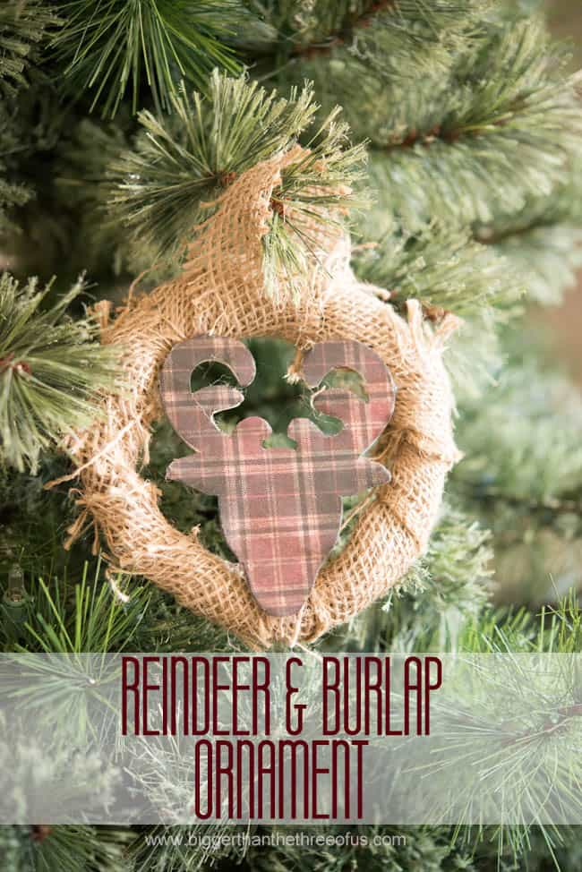 Reindeer and Burlap Ornament-1