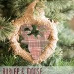 Simple Burlap Wreath ornament with Moose-1