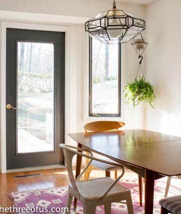 Dark Painted window frames in kitchen