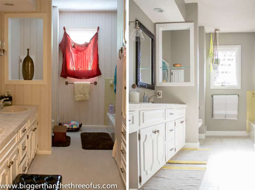 Diy bathroom remodel before and after for Bathroom renovation before and after