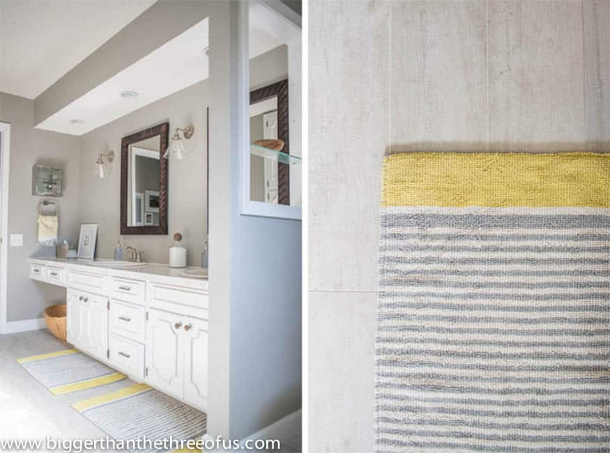 Gray and Yellow accents in Kids Bathroom