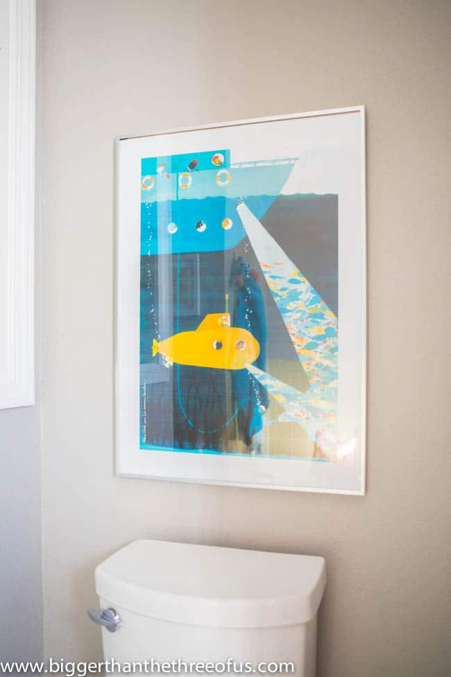 Kids Bathroom Art with Underwater Submarine