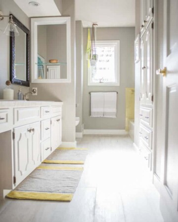 Modern Gray and Yellow Bathroom Update