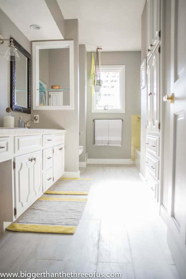 Modern Gray and Yellow Bathroom Update