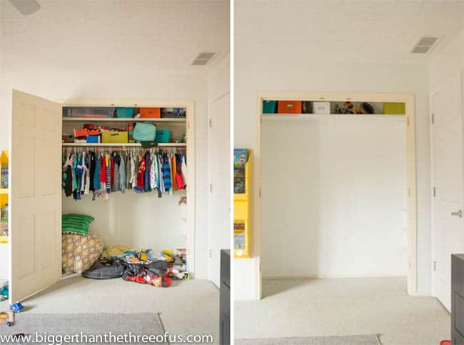 Closet organization in boys room