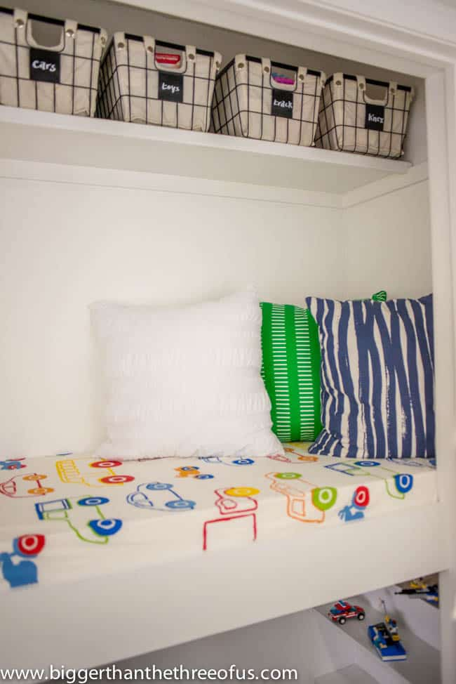 Colorful pillows and bedding for reading loft