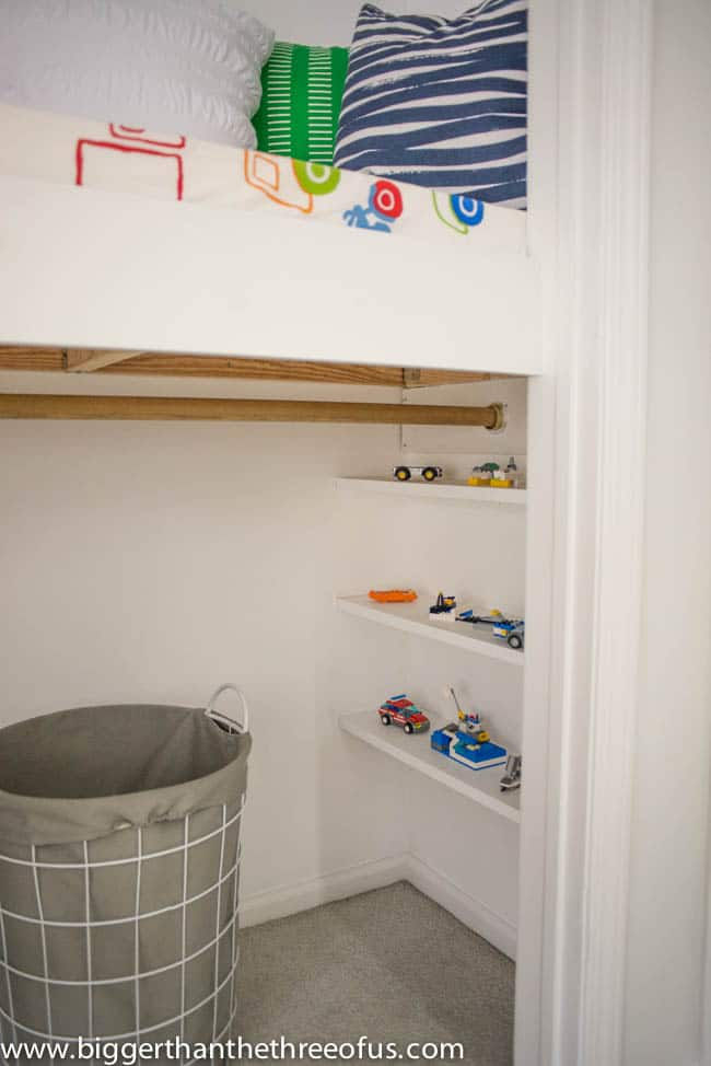 Lego Storage on Built-in Shelves in Closet