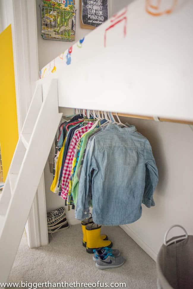 Clothing Storage under Reading Loft