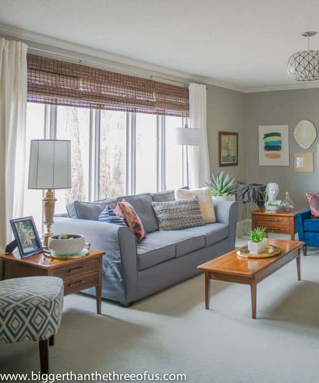 Adding layers to the living room with bamboo blinds