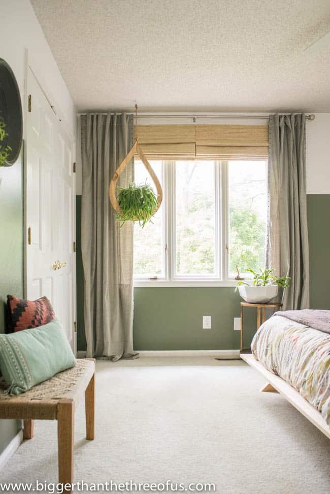 Mid Century Plant Hanger in Bedroom
