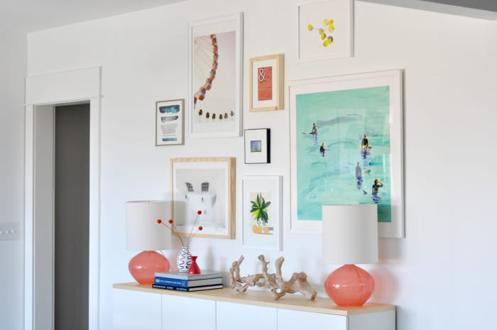 turquoise coral lamps gallery wall