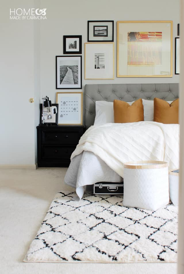 Gallery wall by home made by carmona - Grey and gold bedroom ...