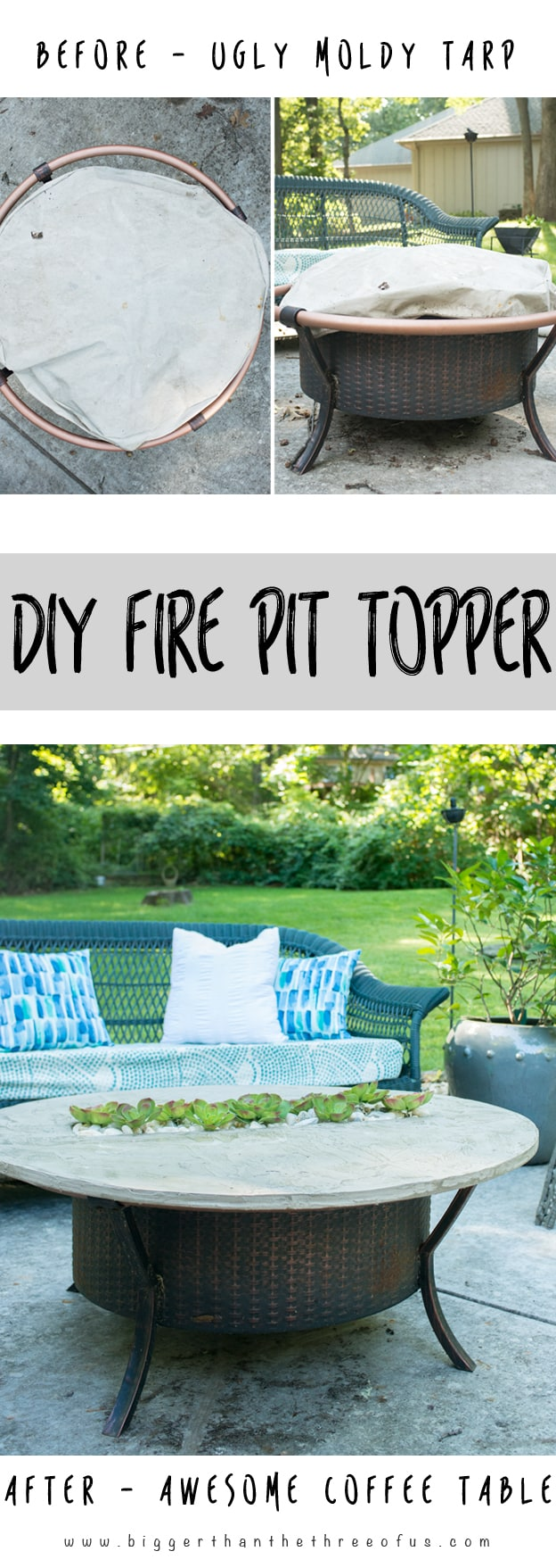 Transform that Fire Pit to an adorable coffee table when it's not in use.  Follow - How To Make A Fire Pit Topper