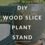 rolling planter diy out of a tree slice