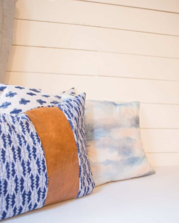 DIY Pillows with Leather Accents for Bench Seat