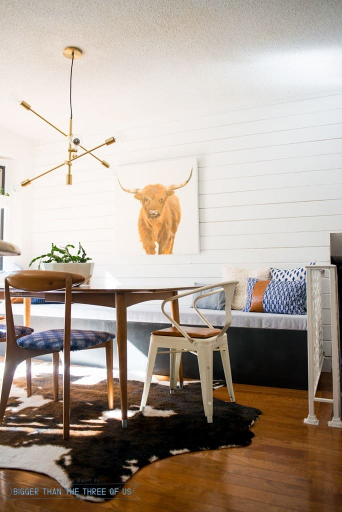 Modern and Eclectic Eat-In Kitchen Reveal with a DIY Plank Wall and DIY Bench Seat