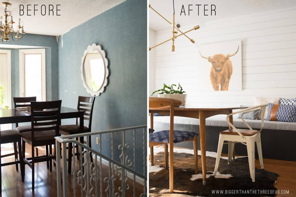Eat-in kitchen before and after