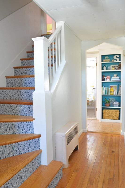 Use fabric on risers to create a personalized look on your Stairs!