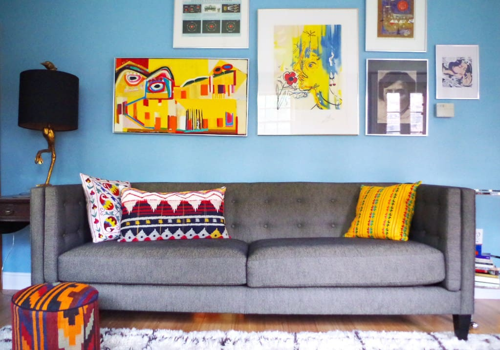Eclectic Living Room with Gallery Wall